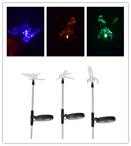 Butterfly Dragonfly Solar Power LED Light Outdoor Garden Lawn Lamp Decor Light Waterproof Butterfly/Bird/Dragonfly 72.5cm