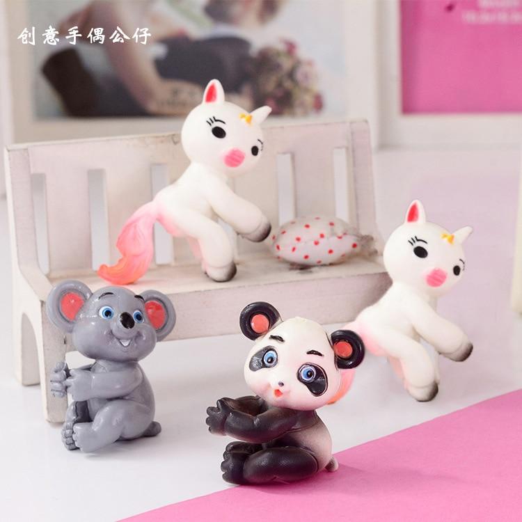 60pcs 4-5cm Cartoon Pen Finger Animal Action Figure Doll PVC Anti Stress Fidget Panda Koala Unicorn Gift D10