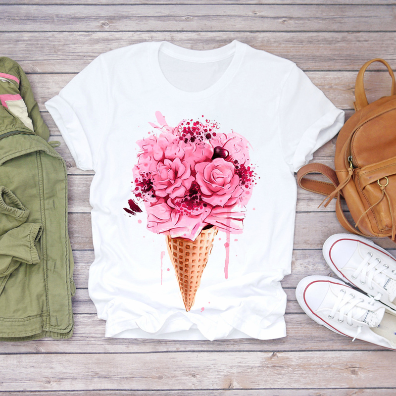 Women 2020 Summer Short Sleeve Ice Cream Floral Flower Lady T-shirts Top T Shirt Ladies Womens Graphic Female Tee T-Shirt