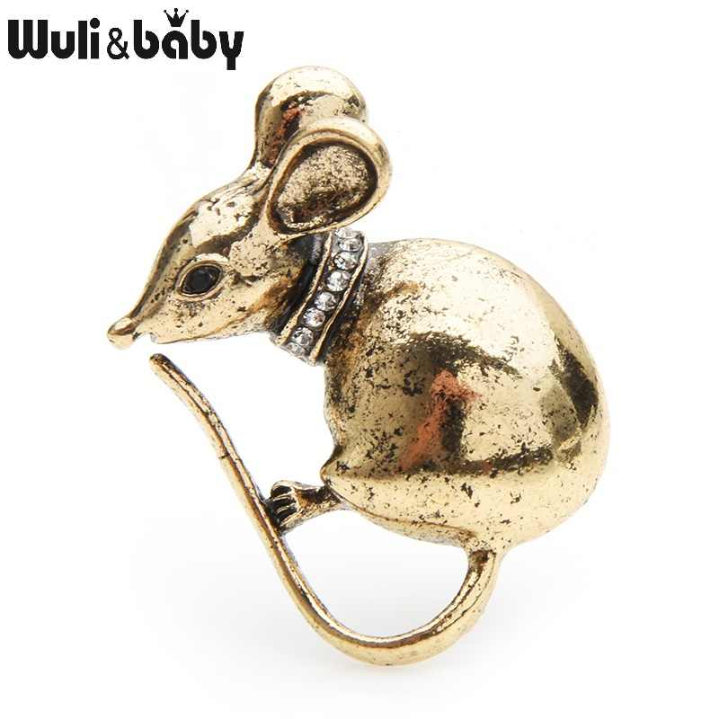 Wuli&baby Retro Gold Silver Mouse Brooches Women Alloy Metal Rat Animal Brooch Pins Gifts