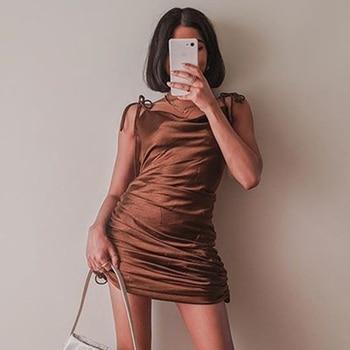Discounted Floral Like Silk Spaghetti Strap Summer Dress Slim Vestidos Vintage Double Side Drawstring Fashion Satin Beach Dress — stackexchange