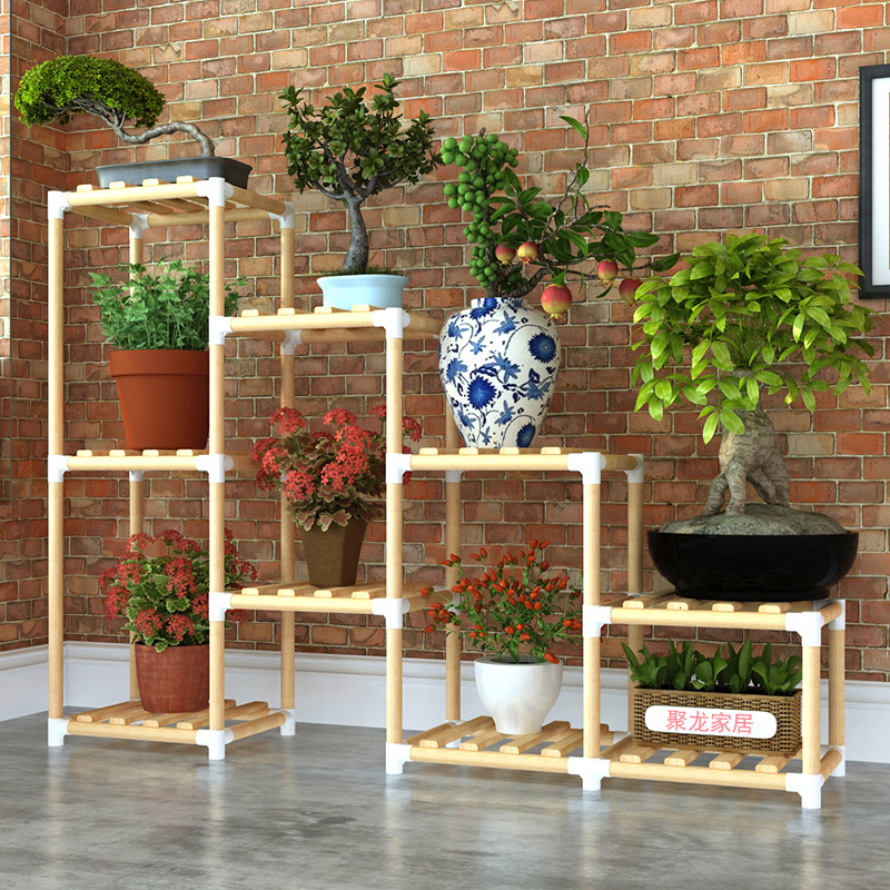 Multi-storey Solid Wood A Living Room Household  Flowerpot Frame Decorate Botany Frame