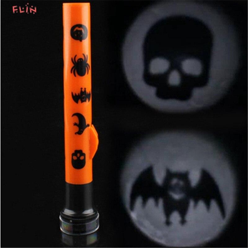 Kids Halloween Flashlight Skull Ghost Pumpkin Bat Spider Halloween Light Projector Halloween Props