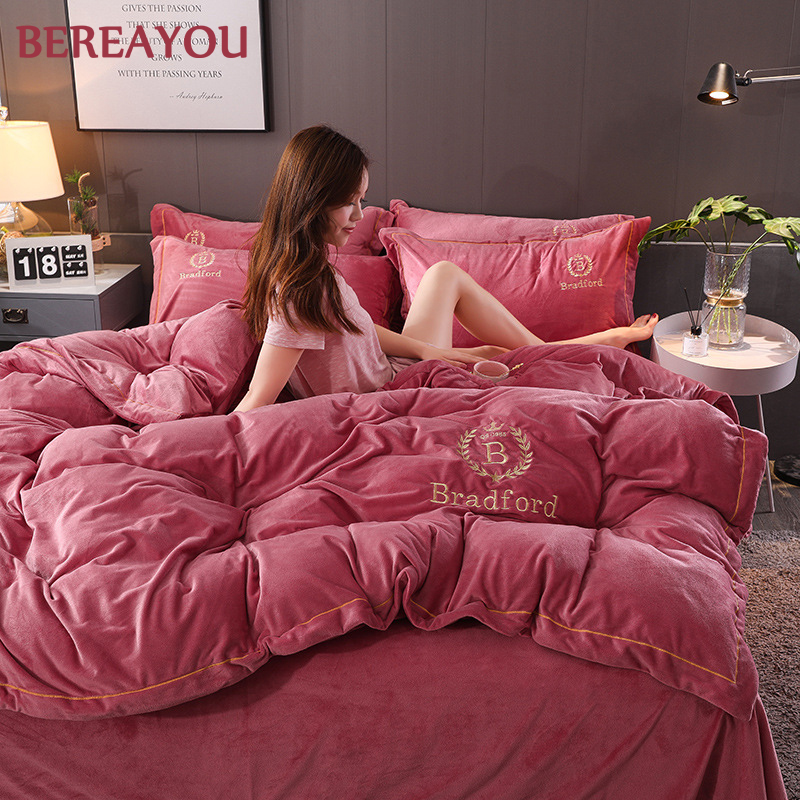 Luxury Bedding Sets Flannel Polyester Home Textile Hotel Bedding Winter Comforter Queen King Duvet Cover Flat/Fitted Bed Linen