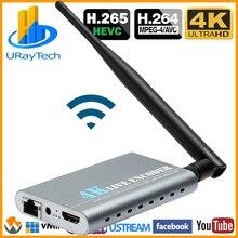 Беспроводной HEVC H.265 H.264 4K Ultra HD HDMI видео потоковое кодирование Wi-Fi RTSP UDP RTMP кодировщик IPTV поддержка записи видео