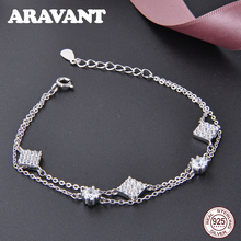 New Fashion Charm Bracelets For Women Luxury Women 925 Sterling Silver Clear Crystal Square Bracelets&Bangles Fine Jewelry