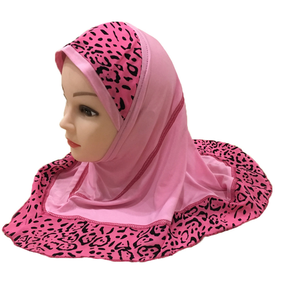 Muslim Hijab Islamic Girls Kids Arab Scarf Shawls Spliced Leopard Pattern About For 2 To 7 Years Old Girls
