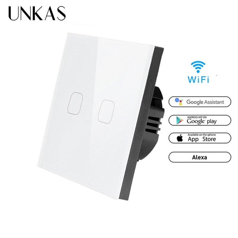 UNKAS 86 Type Touch Switch Smart Light Switch wifi light switch APP Wireless Remote EU Standard Work with Alexa Google Home