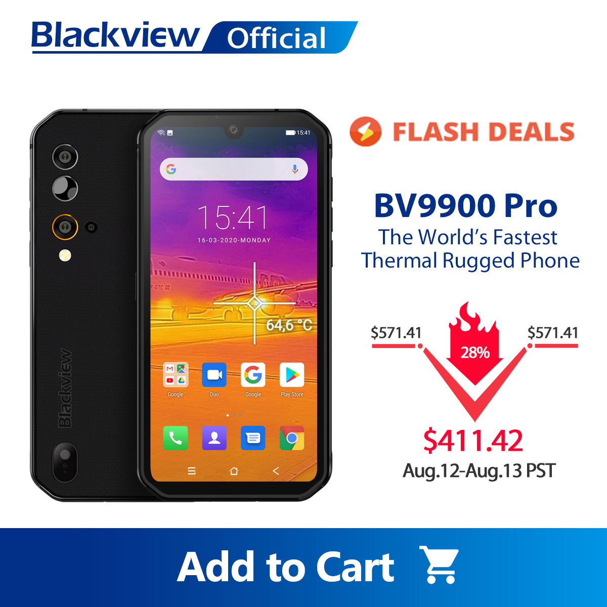 Blackview Helio P90 BV9900 Pro Thermal-Camera 128GB WCDMA/CDMA/GSM/LTE Nfc Wireless Charging