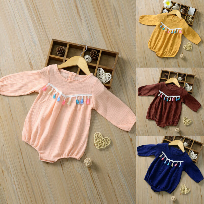 New 2019 Autumn Toddler Baby Girl Long Sleeve Tassel   Romper   Long Sleeve Jumpsuit Clothes