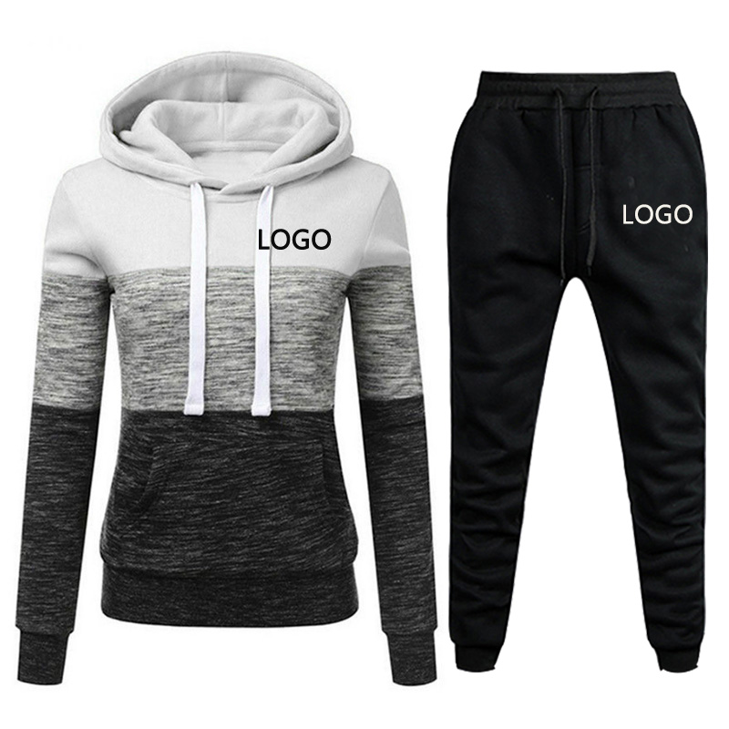 2020 New Brand Tracksuit Women Pant 2 Piece Sets Woman Sportswear Fleece Thick Hoody+Pants Sport Suits Custom Logo
