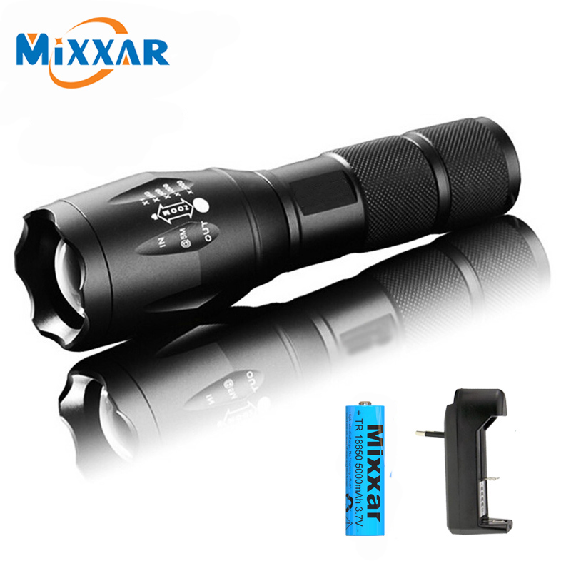 ZK20 Dropshipping Q250 XML-T6 8000 Lumens TL360 Flashlight LED Torch 5 Mode Zoomable Bicycle Light by 1*18650 Battery