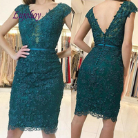Sexy Green Short Lace Cocktail Dress Party Plus Size Ladies Girl Women Formal Prom Graduation Semi Formal Dress