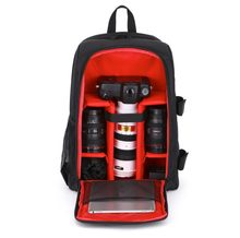 Waterproof Digital DSLR Photo Padded Backpack with Rain Cover Bag Case for iPad Canon Sony Fuji Nikon Olympus Panasonic(Red)(China)