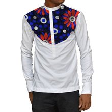 Stand Collar Shirt Mens Dashiki Custom Made Ankara Top White & Wax African Clothing Africa Designed Outfit