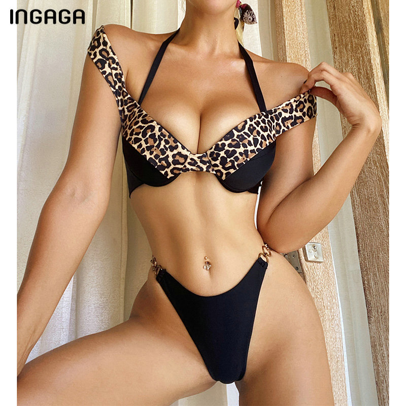 INGAGA Push Up Bikini Set 2020 Sexy High Leg Swimsuit Leopard Patchwork Biquini Halter Swimwear Women New Bathing Suit Women's