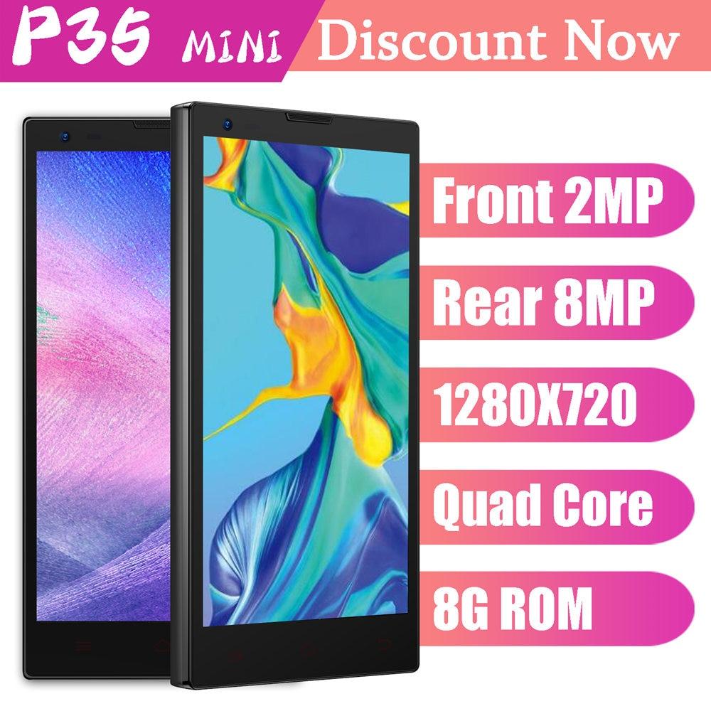 Original Mobile Phone P35 MINI 4G LTE 8MP 720P HD Quad Core Android Smartphones 1G RAM 8G ROM Unlocked Cellphones