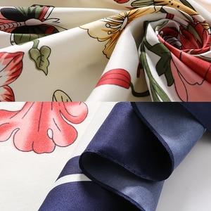 Image 5 - LESIDA écharpe carrée en soie Pure pour femmes, grands châles en Design floral, écharpe carrée, bandana, 130x130CM