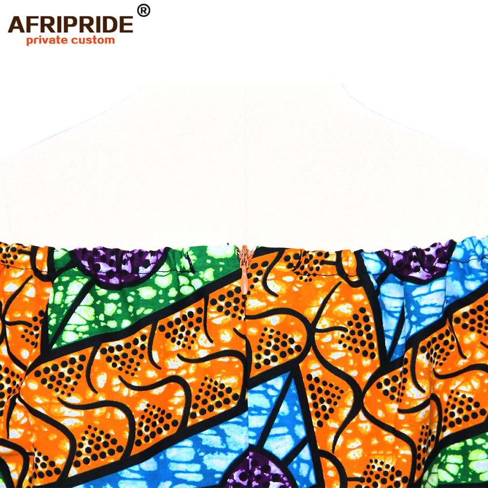 2018 AFRIPRIDE private custom african clothing autumn dress short sleeve maxi batik side-opening party dress for women A722538