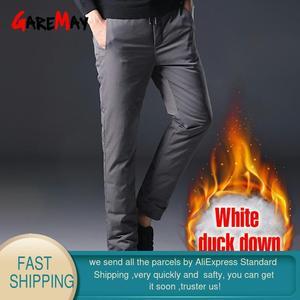 Image 2 - Homem inverno para baixo calças masculinas de pato branco para baixo calças de homem streetwear inverno engrossar quente preto bolsos casuais dos homens para baixo