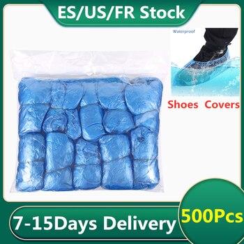 Couvre-chaussures jetables | 100/200/500 pièces étui de couverture de chaussures, en plastique, jetable, Anti gouttelette et poussière, couvre-chaussures de pluie, pochette imperméable pour chaussures