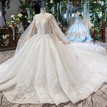 BGW HT4237 Ball Gown Wedding Dresses With Cape O Neck Zipper Back Applique Long Sleeves Lace Wedding Gowns 2020 Vestido De Noiva