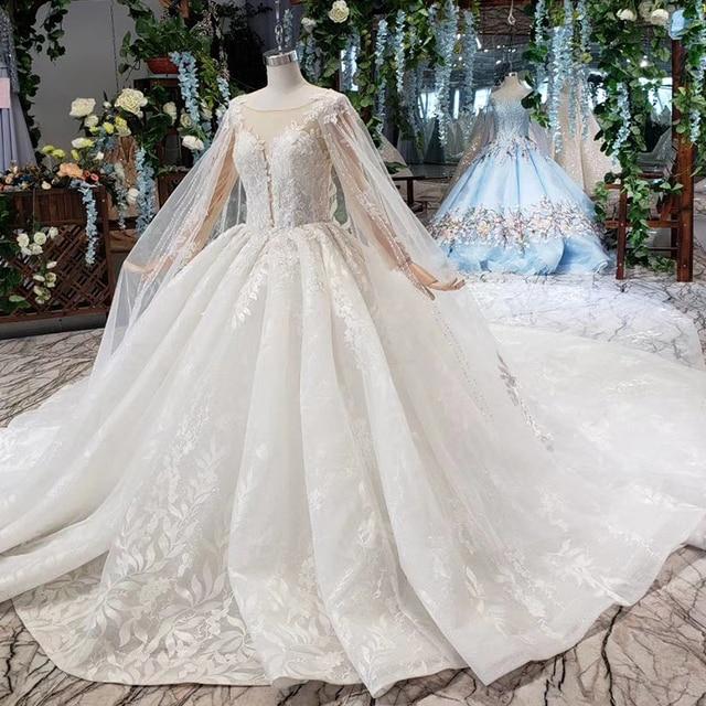 BGW HT4237 Ball Gown Wedding Dresses With Cape O Neck Zipper Back Applique Long Sleeves Lace Wedding Gowns 2020 Vestido De Noiva