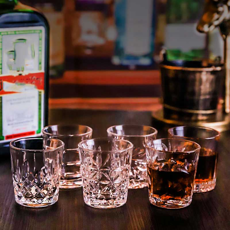 6Pcs Carved Patterns Shot Glass Creative Whiskey Wine Vodka Beer Wine Glass Bar Club Party Cocktail Glass Home Spirits Drinkware