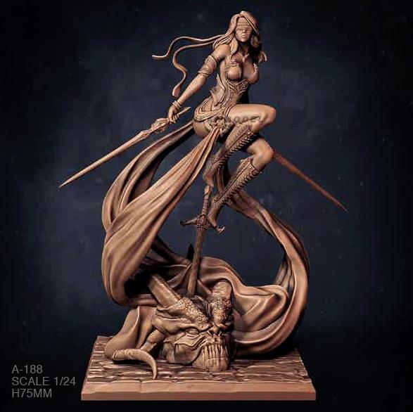 1/24 Resin Figure Kits Flying Swordswoman Model Self-assembled A-188