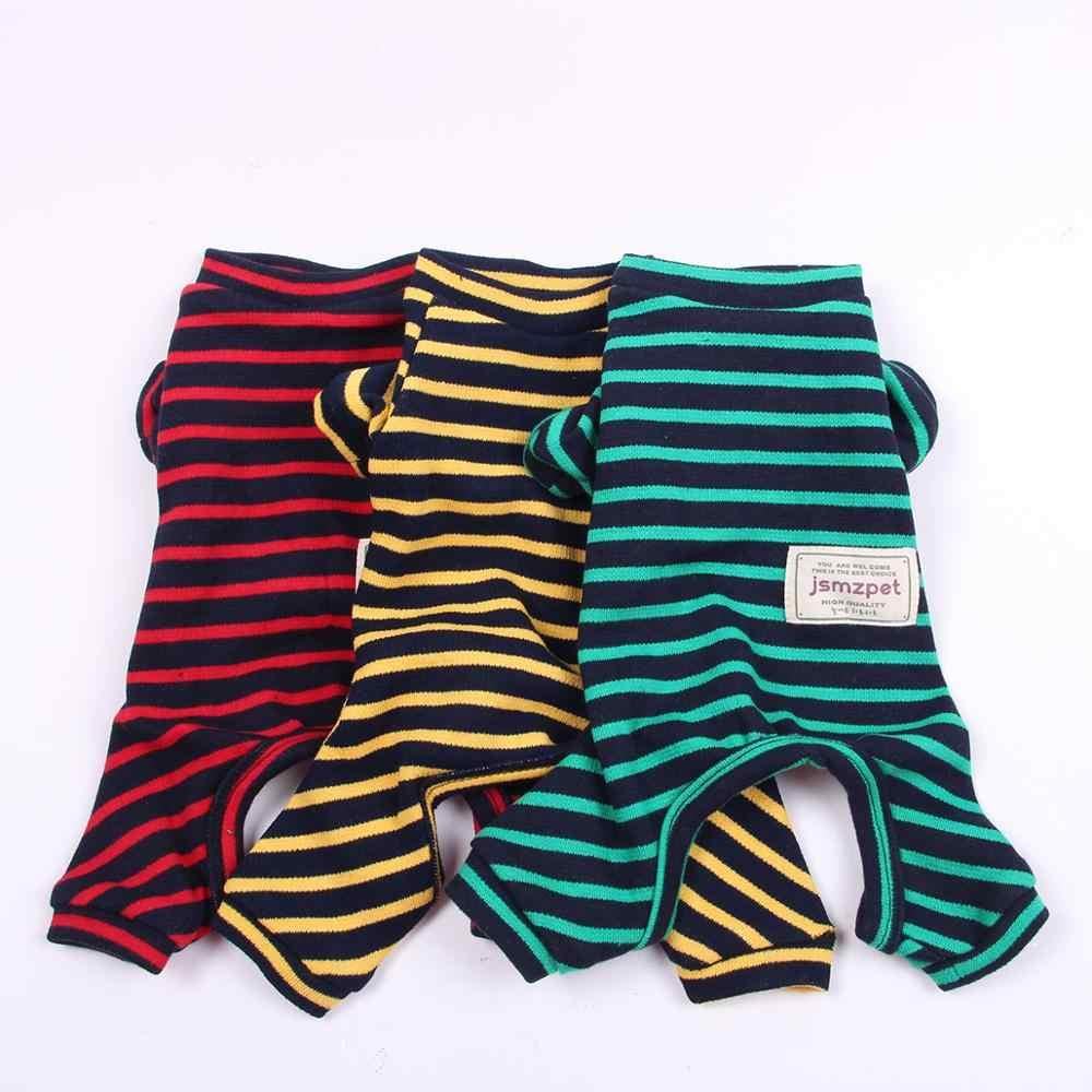 개 애완 동물 JumpSuit 셔츠 100% 코 튼 Tracksuit 고양이 강아지 스트라이프 잠 옷 바지 t-셔츠 5 크기 3 색