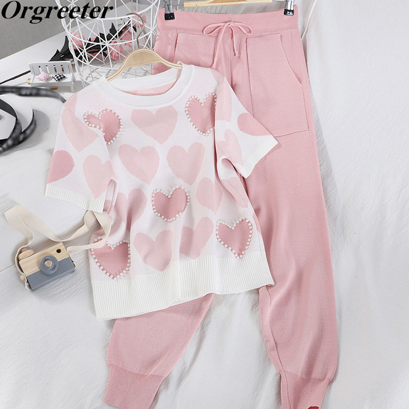 Casual Tracksuits Women Summer Fall Beaded Short Sleeve Knitted Suit O-neck Pullover Tops And Sashes Bow Harem Pants 2 Piece Set
