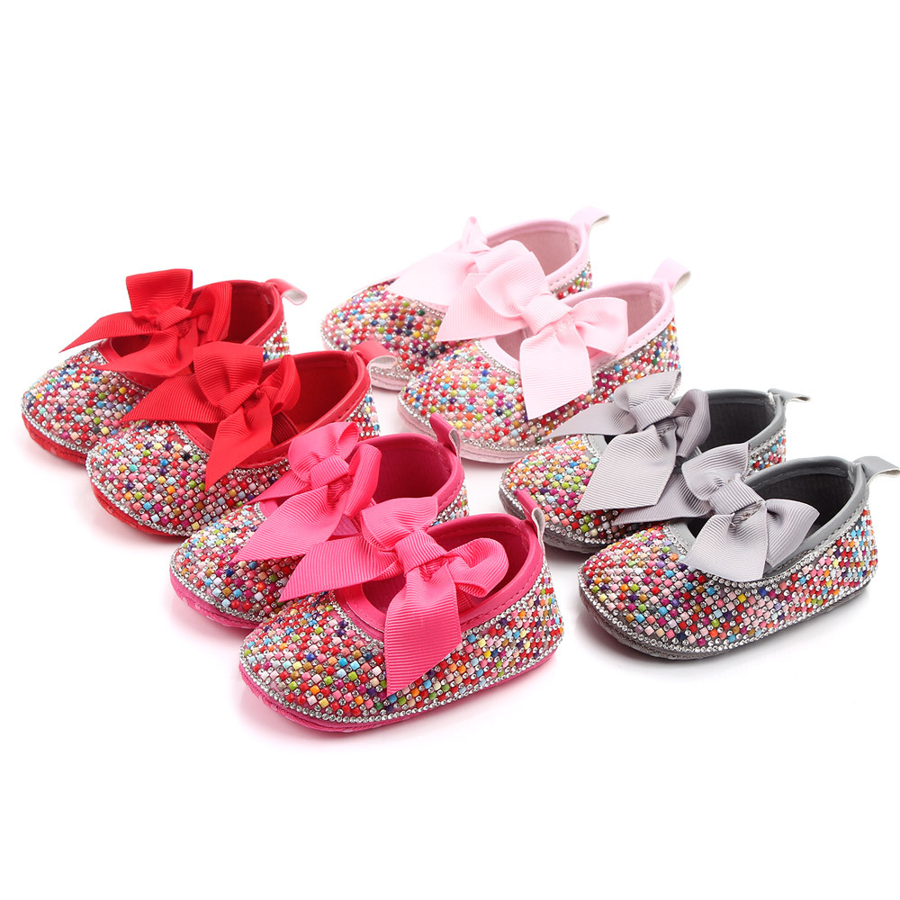 MiYuebb Fashion Sequins Baby Girl Shoes Inlaid Pearls Princess Shoes Butterfly-knot Newborn Infant Toddler Shoes