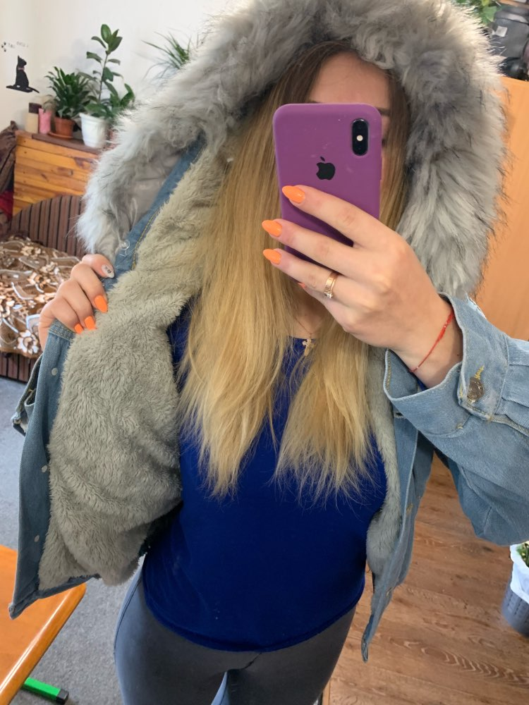 H8658000a275e43bc81efa9c4aa348b00g Elexs velvet thick denim jacket female winter big fur collar Korean locomotive lamb coat female student short coat 72510