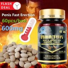 O homem da tabuleta de maca suplementa a pílula masculina do realce prolonga a resistência dura forte ginseng em pó erval cuidados de saúde do corpo