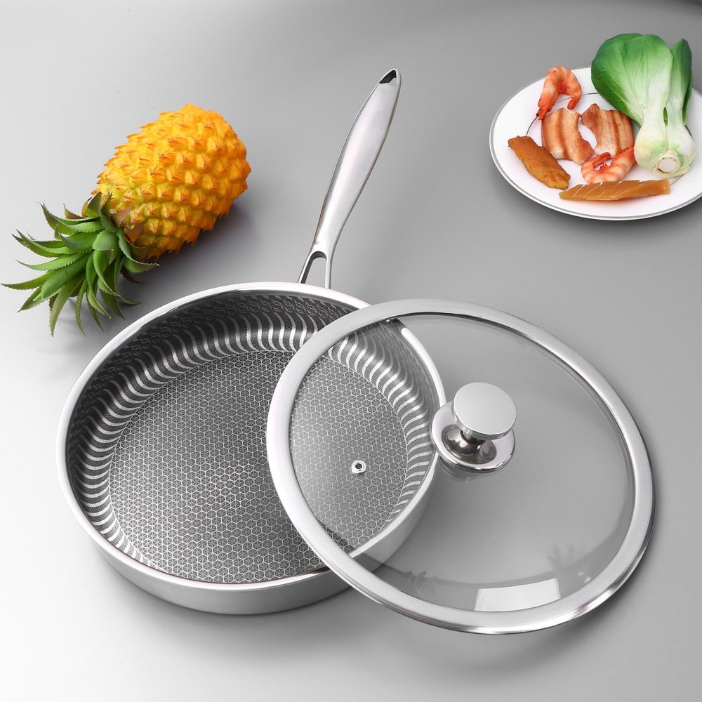 Stainless Steel Pan With Lid Nonstick Fry Pan Cooking Pot Saucepan Stockpot Fast Heat-up Food Cooker Frying Pan