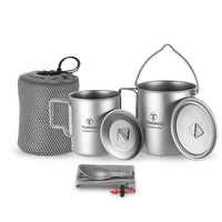 TOMSHOO 3 pièces ensemble titane 750ml Pot 450ml tasse à eau tasse avec couvercle poignée pliable pliant Spork Kamp pique-nique léger