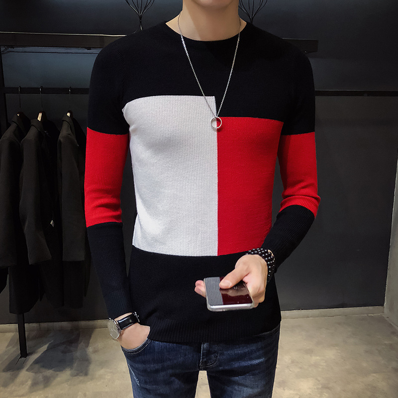 Knitted Sweater Pullover O-Neck Slim Vintage Winter Striped High-Fashion Thick Casual