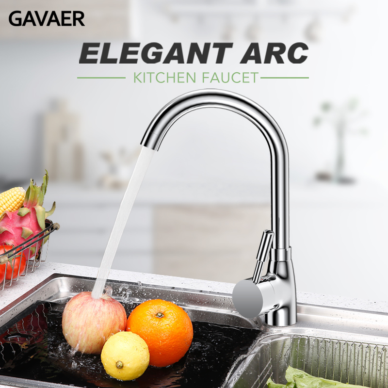 Gavaer Kitchen Faucet 360° Swivel Tap Kitchen Sink Faucet Single Handle Smooth Water Mixer Adjustable Hot-Cold Shower Water-tap