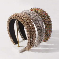Luxury Baroque Padded Hairband for Women Full Crystal Rhinestone Headband Wide Thick Colorful Hair Hoop Girls Hair Accessories