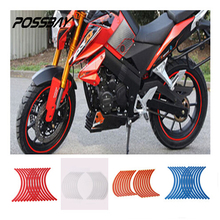 Rim-Tape Decals Car-Wheel-Sticker Bike Reflective 16pcs-Strips Scooter Bicycle Blue/white