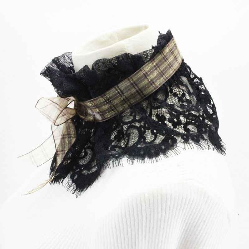 Мода DIY клетчатая галстук-бабочка стенд Поддельный Воротник полый крючком кружева ожерелье чокер галстук