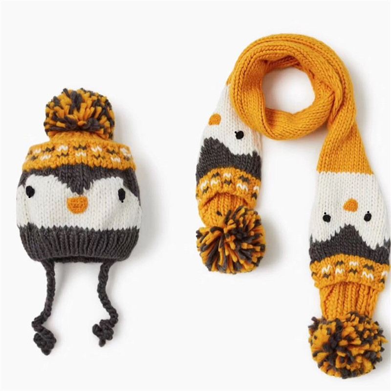 2019 New Fall Winter Cartoon Yellow Penguin Tassel Ball  Kids Thick Scarf Hats Sets Children Boys Girls Apparel Accessories-JYC