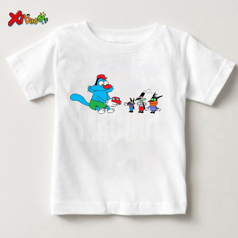 Oggy And The Cockroaches 2019 Funny T-shirt Girls Boys And Kids Summer Children T-shirt Solid Color Children T Shirt 6 Years