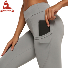 Workout Leggings Yoga-Pants Side-Pocket Fitness Slim High-Waist Stretchy Running Casual