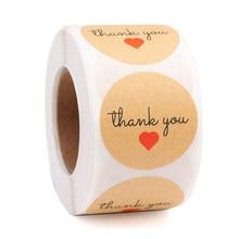 Étiquettes autocollantes rondes merci Nature Kraft, étiquette scrapbooking, pour emballage, papeterie, lot de 50 à 500 pièces
