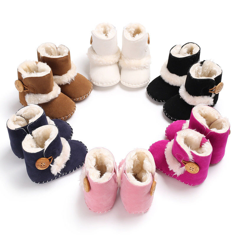 0-18M Newborn Infant Baby Girls Snow Boots Winter Warm Baby Shoes Solid Button Plush Ankle Boots 5
