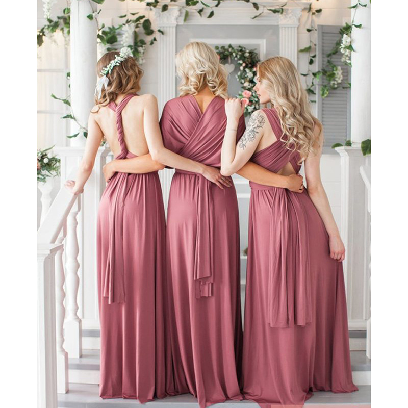 Sexy Boho Covertible Bridesmaid Dresses Pleated Floor Length Country Beach Wedding Guest Party Gowns Maid Of Honor Dresses