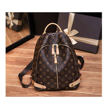 Casual Versatile Fashion Backpack New Style Womens Printed Simple Hand Shoulder Dual Use Travel Bag
