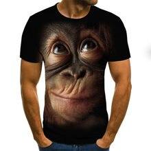Camiseta con estampado 3D de orangután, moda para hombre, animal divertido, talla grande, manga corta, verano 2021, ropa nueva