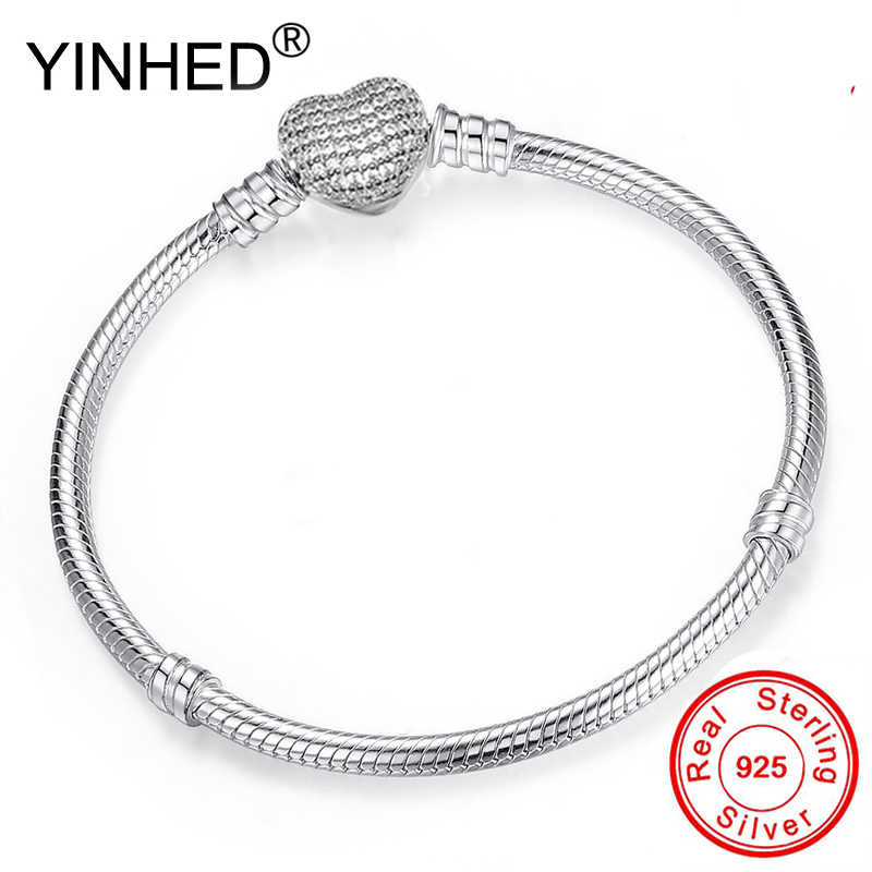 YINHED Fashion DIY Pan Bracelet Bangle Original 100% 925 Sterling Silver Heart Clasp Snake Chain Fit Bead Bracelet Jewelry ZB038